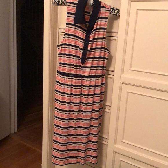 PINK ROSE collared sleeveless striped dress M